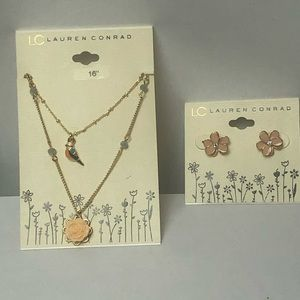 Lauren Conrad bird and flower necklace & earrings